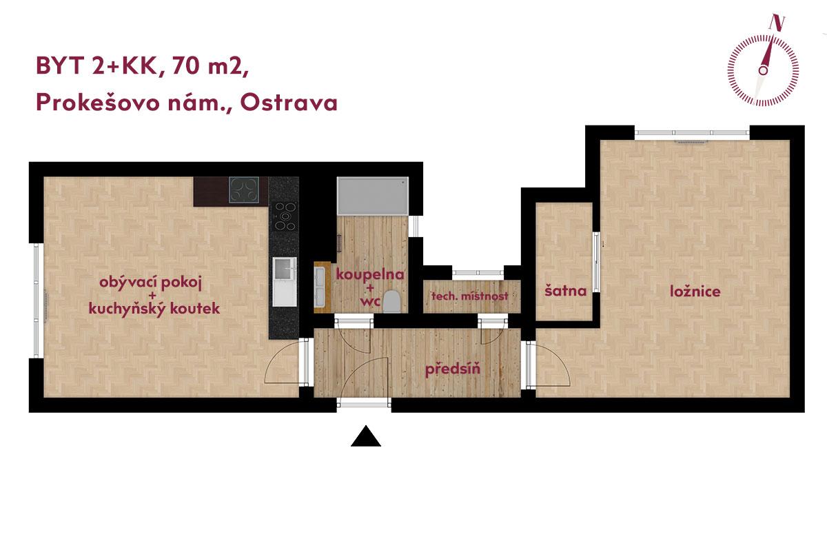 Prodej bytu Nová radnice Ostrava půdorys